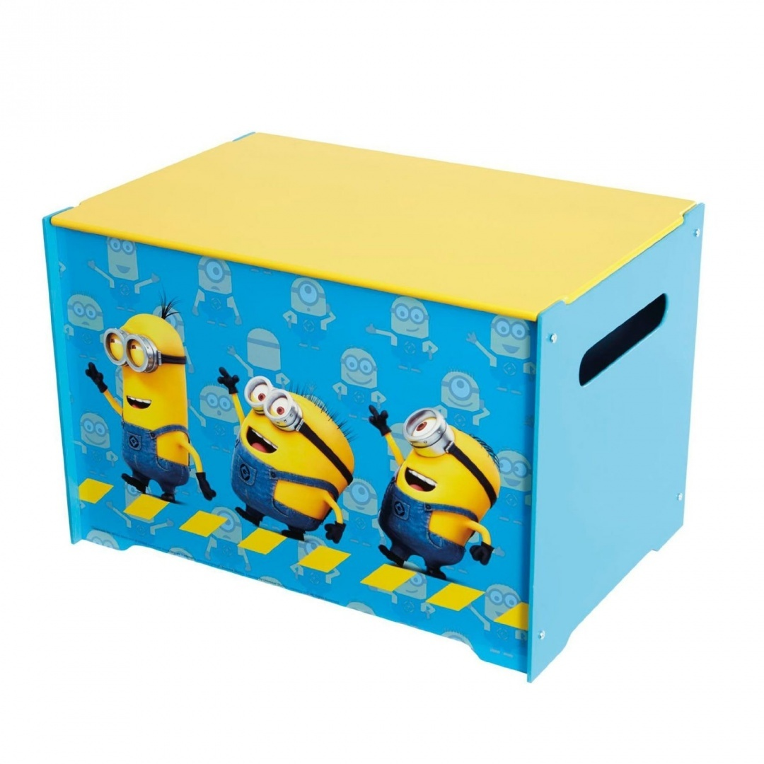OFFICIAL DESPICABLE ME MINION SQUARE STORAGE KIDS STOOL TOY CHEST OTTOMAN BOX