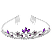 Purple Crystal Rhinestone Wedding Bridal Prom Party Headband Hair Tiara Jewellery