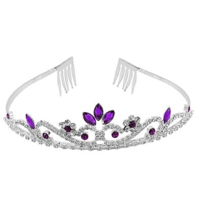 Crystal Rhinestone Wedding Bridal Prom Party Headband Hair Tiara Jewellery (Purple)