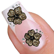 Gold Glitter Flower Adhesive Art Nail Stickers