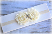 Christening Baptism Cross White Headband Baby Newborn Girl Ivory