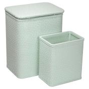 RedmonUSA Redmon for Kids Chelsea Wicker Nursery Hamper and Matching Wastebasket, Sage Green