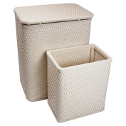 RedmonUSA for Kids Chelsea Wicker Nursery Hamper and Matching Wastebasket, Cream
