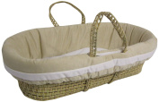 Baby Doll Bedding Suede Hotel Moses Basket Set, Ivory/White
