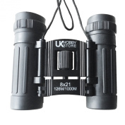 8x21 Black Compact Folding Binoculars with Case, High quality optics, Rubber amoured body. Features High Power Magnification. Special Anti Glare Fully Coated Optics. Lightweight Alloy Body. Ideal for Birdwatching, Concerts, Sport, Hiking, Camping and T ..