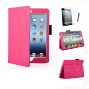 MOFRED Hot Pink Executive Leather Multi Function Standby Case for Apple iPad Mini / Apple iPad Mini 3 with Built in Magnet for Sleep / Wake Feature + Screen Protector + Stylus Pen