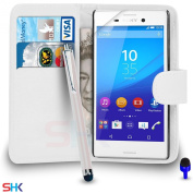 Sony Xperia M4 AQUA Premium Leather White Wallet Flip Case Cover Pouch + Big Touch Stylus Pen + BLUE 2 IN 1 Dust Stopper + Screen Protector & Polishing Cloth BY SHUKAN®,