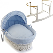 Blue Waffle White Wicker Moses Basket With White Rocking Stand