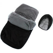 3 In 1 Luxury Padded With Pouches Footmuff Liner And Baby Head Hugger Fits Any Stroller Pram Or Buggy - Black/Grey