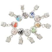 Godagoda Mixed Silver Colour Hollow Lantern Shape Dangle Beads for Charm Bracelet Pack of 10pcs