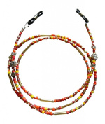 ShoreThing UK Red/Orange/Yellow/Gold Beaded Glasses/Spectacle Chain : 70cm - 80cm. Red/Orange/Yellow/Silver