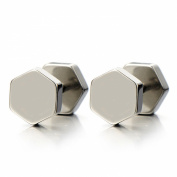 2pcs Hexagon Screw Stud Earrings for Men Women, Stainless Steel Cheater Fake Ear Plugs Illusion Tunnel