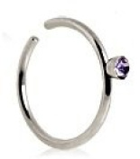 Piercing Boutique Surgical Steel Nose Stud Hoop Ring With 2mm Coloured Gem 0.8mm (20g) x 8mm Diameter One Piece Light Purple