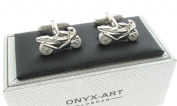 Racing Motorcycle Motorbike Cufflinks In Onyx Art Cufflink Box