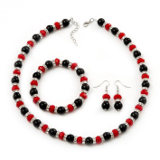 Black & Red Bead With Diamante Ring Necklace, Bracelet & Earrings Set