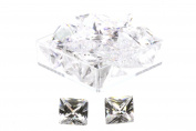 Birth Stone Jewels 8 mm Diamond White Princess Cut Cubic Zirconia Gem Stones Pack Of 2