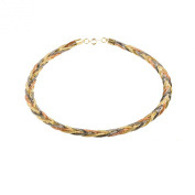 Trio colour Plated Braided fashion Necklace Rose Gold Yellow Gold And Gun Metal Plating By Mytoptrendz