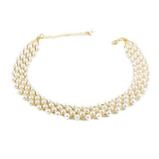 Fabulous vintage pearl collar choker necklace for wedding In gold Plated Chain