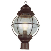 Trans Globe Lighting 69902 RBZ 1-Light Post Lantern, Rustic Bronze