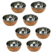 Handmade Katori Indian Dishes - Set of 8 Copper Bowls - Traditional Indian Dinner Plates & Indian Cooking Utensils - Unique Copper Gifts