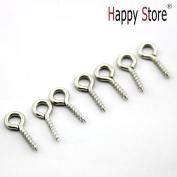 HSS 100 Pcs Silver Tone Screw Eyes Pin Findings for Clay Jewellery, Resin, Bead, Plastic Size 12 Mm X Hoop 5 Mm
