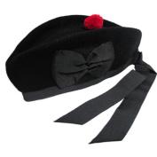 New Glengarry plain Black Wool Scottish Bagpipe /Kilt Hat (7 1/4 -