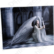 The Blessing - A Gothic Angel with Sword - Fantastic Design by Artist Anne Stokes - Canvas Picture on Frame Wall Plaque / Wall Art