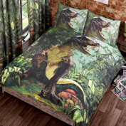 T-Rex Dinosaur Double Duvet Cover and Pillowcase Set + Free 18 Small Foil Stickers