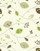 """Leaves and Stems Cream & Green Table Vinyl Oilcloth Wipe Clean Tablecloth 200 x 137cm (78"""" x 54""""), leaf"""