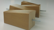 4 x OAK FINISHED WOODEN FEET REPLACEMENT FURNITURE LEGS 125mm HEIGHT FOR SOFAS, CHAIRS, STOOLS M8
