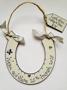 Personlised Wooden Horse shoe Wedding Plaque Gift
