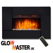 OXFORD COMPACT WALL MOUNTED ELECTRIC LIVING FLICKER FLAME BLACK GLASS FIRE FIREPLACE