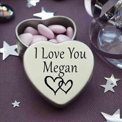I Love You Megan Mini Heart Tin Gift For I Heart Megan With Chocolates. Silver Heart Tin. Fits Beautifully in the Palm of Your Hand. Great as a Birthday Present or Just as a Special Gift to Show Somebody How Much You Love Them.