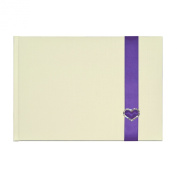 Elegant Ivory Guest Book with Purple Ribbon and Diamante Heart