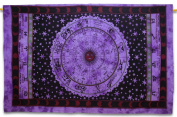 Zodiac Print Cotton Tapestry Wall Hanging Dorm Room Twin Size Bedcover 210cm X 140cm