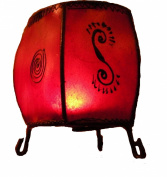 Fair Trade Goatskin & Iron Moroccan Hand-pinted Henna Round Lamp