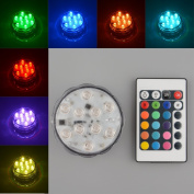 10 LED Multicolor Submersible Party Vase Base Light Bright Lamp Remote Control