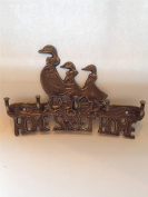 """Antique Bronze effect Brass Duck Family """" HOME SWEET HOME """" House Car Key Hook 5 Hooks Wall mounted Holder Rack including fixings"""