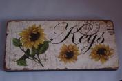 Sunflower Keys Key Rack Hooks 4 Hooks Wooden Key Rack