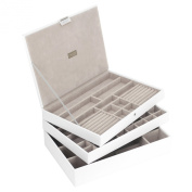 STACKERS Set of 3 'SUPER SIZE' - White Large STACKER Set of 3 Jewellery Box with Grey Velvet Lining.