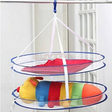 amazing-trading GOOD SELLING Drying Rack Folding Hanging Clothes Laundry Basket Dryer Net 2 layers Hot Sell