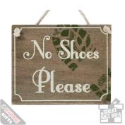 15cm No Shoes Please Sign Wooden Chic Kitchen