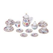 Set of 15pcs 1/12 Dollhouse Miniature Dining Ware Porcelain Tea Set Pot+Dish+Cup+Plate---Colourful Floral Print