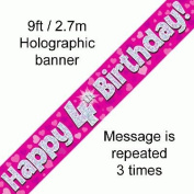 9ft Pink & Silver Hearts Holographic Happy 4th Birthday Banner