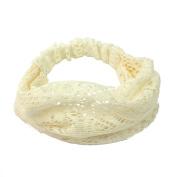 Elegant Women Beige Bandanas Lace Headwrap Headband Girls' Hair Accessory Gift