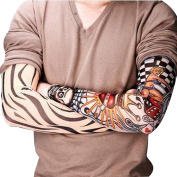 Sealike 6 Pcs Unisex Cool Temporary Fake Slip on Tattoo Arm Sleeves Body Art Arm Stockings Warmers with a Stylus