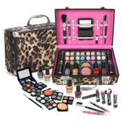Ivation Carry All Makeup Train Case with Pro Makeup and Reusable Aluminium Case, Leopard + Jumbl Brush and Mirror Included