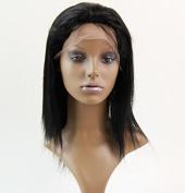 Full Lace Wigs 25cm mongolian Hair Free Part Human Hair Wig Natural Straight #1 Trademark:hairpr