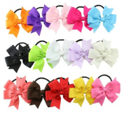 Bzybel 8.9cm Baby Grosgrin Ribbon Hair Bows Ponytail Holderes Hair Ties for little girls 15Pcs