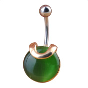 Oasis Plus Green Gem Crystal Navel Rings Rhinestone Belly Button Ring Surgical Steel Body Glitters Piercing Jewellery